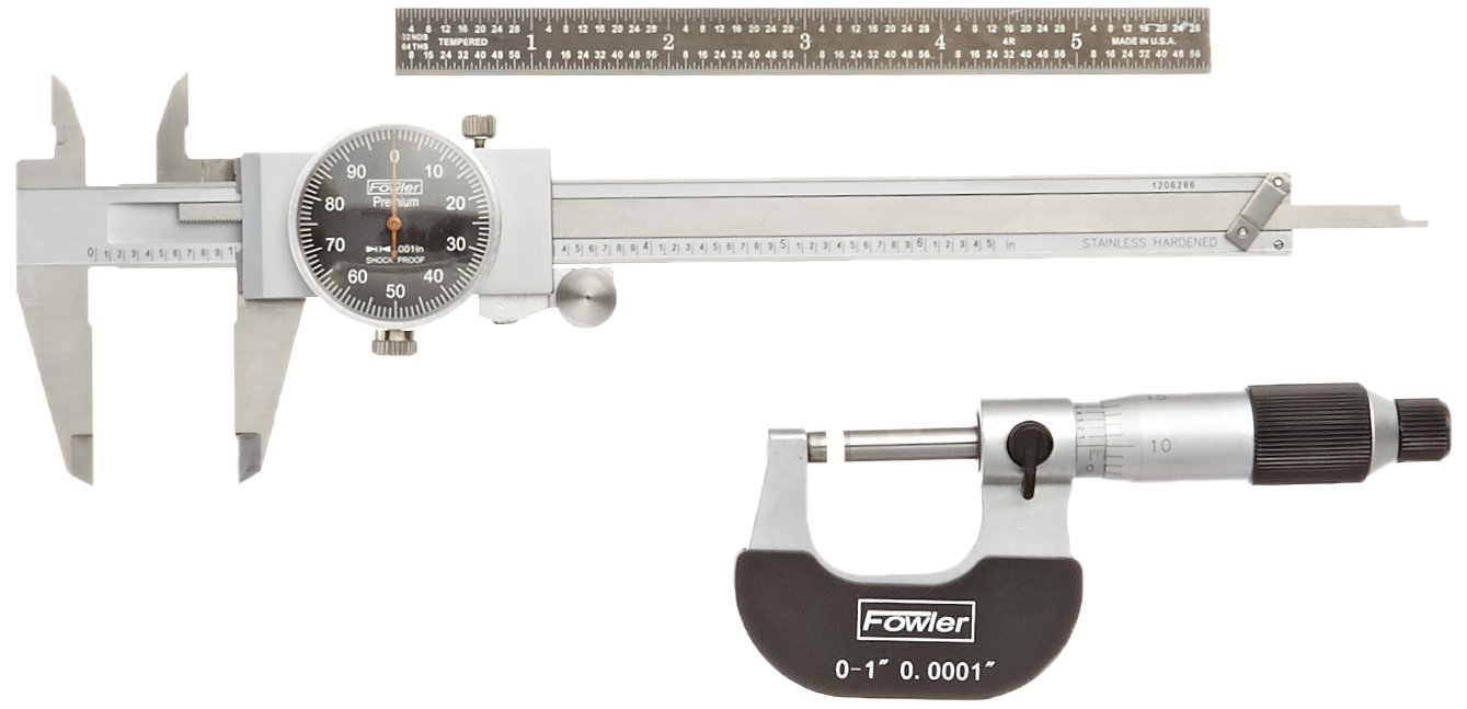 Fowler Full Warranty 52-229-711-0 Mechanics Measuring Set, 0.001'' Caliper and 0.0001'' Micrometer Graduation with 6'', 4R, EZ-Read Flexible Rule