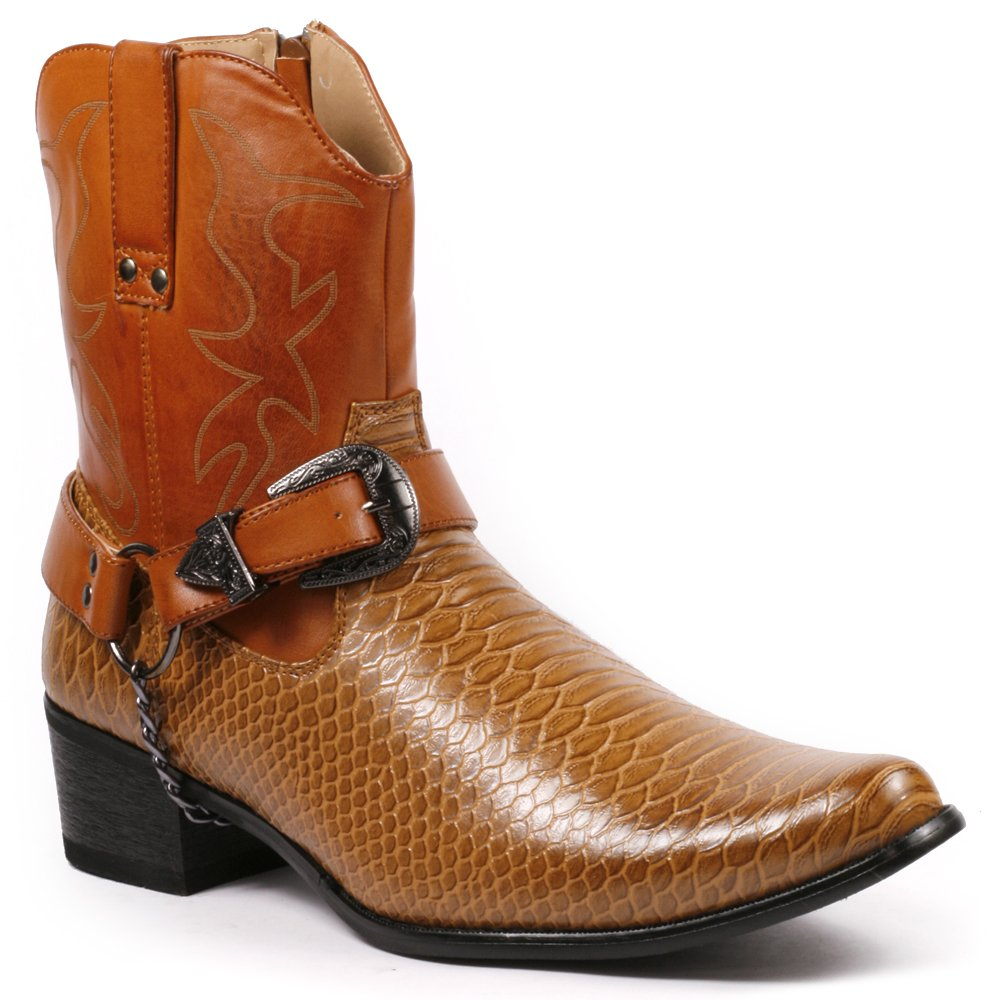 Metrocharm Diego-01 Men's Belt Buckle Chain Strap Western Cowboy Boots (12, Brown)
