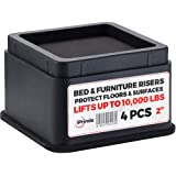 """iPrimio Bed and Furniture Risers – Square Elevator up to 2"""" Per Riser and Lifts up to 10,000 LBs - Protect Floors and…"""