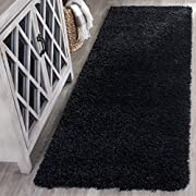"Safavieh California Premium Shag Collection SG151-9090 Black Runner (23"" x 5)"
