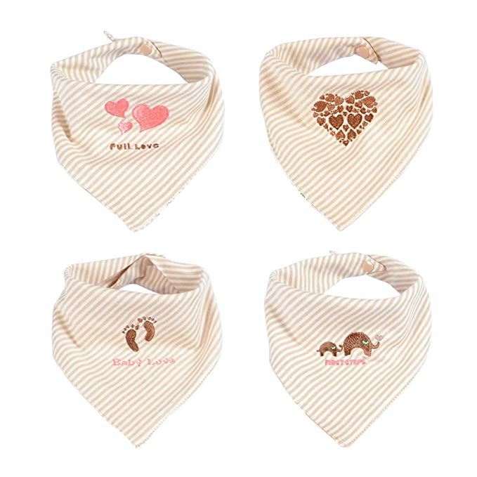 4-Pack Unisex Baby Bandana Drool Lätzchen Set Saugfähige Baumwolle DE