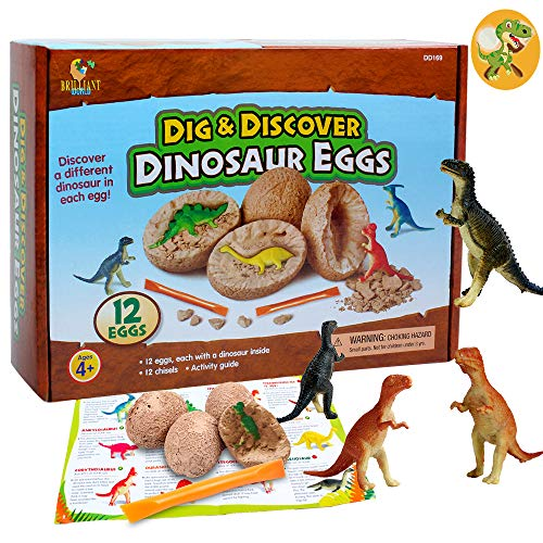 Alpacasso 12 PCS Dinosaur Eggs Easter Eggs Party Supplies Toys, Dino Egg Dig Kit Toys, Dinosaur Party Favors STEM Toys for Boys Age 4 5 6 +.