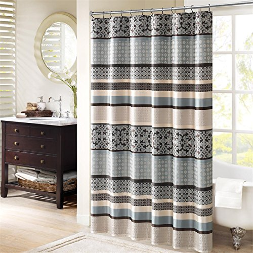 (Madison Park Princeton Geometric Jacquard Fabric Shower Curtain, Transitional Shower Curtains for Bathroom, 72 X 72, Blue)