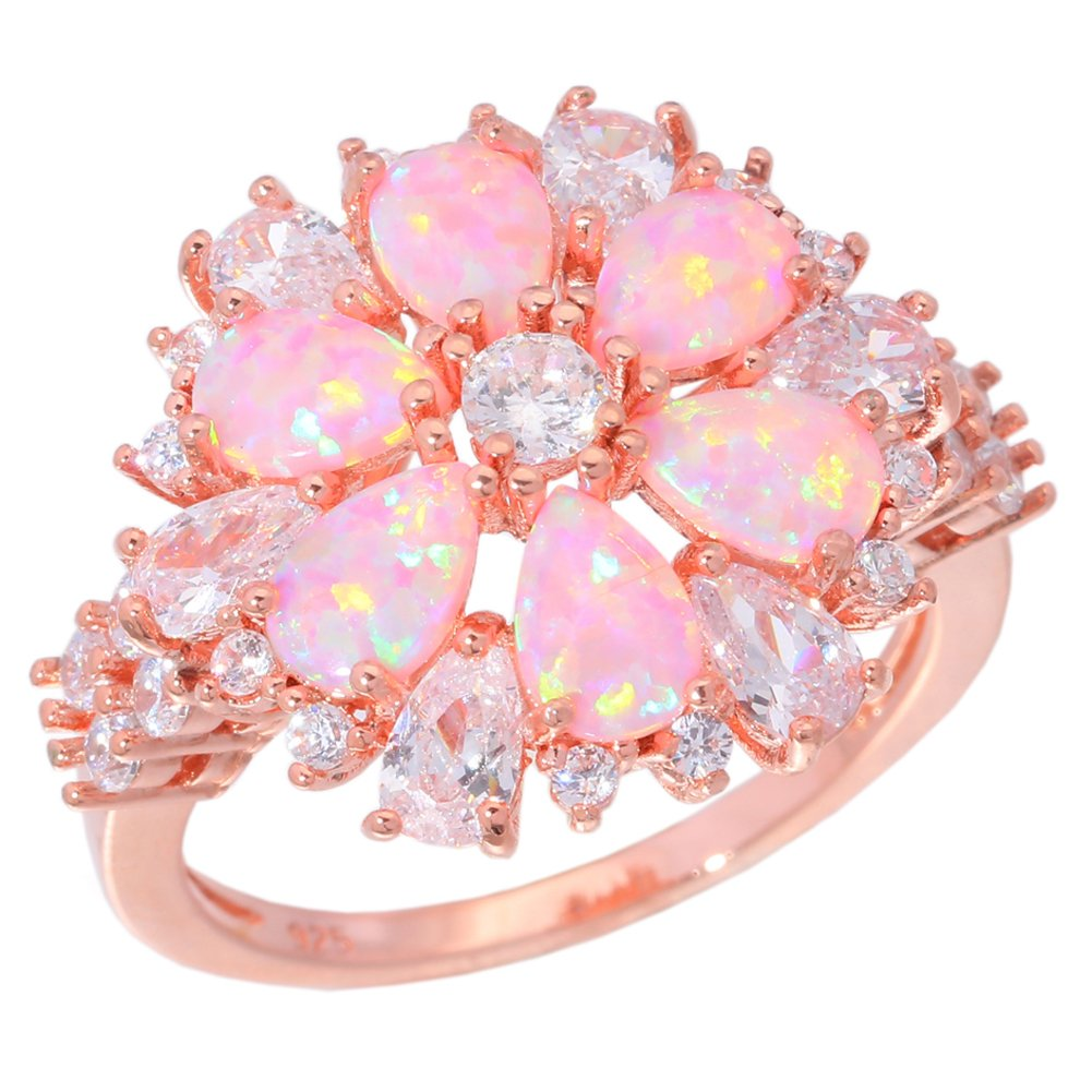 CiNily Pink Opal Zircon Women Jewelry Gemstone Rose Gold Ring Size 5-12 (11)