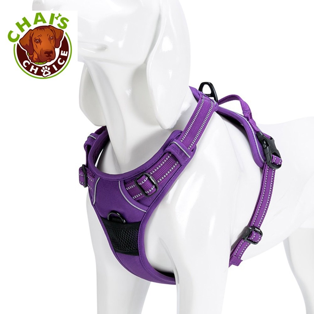 Chai's Choice Best Outdoor Adventure Dog Harness. 3M Reflective Vest with Handle and Two Leash Attachments.Caution Please Use Sizing Chart at Left Before Ordering! Matching (Large, Purple)