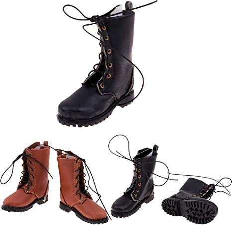 "1//6 Vintage Styled Boots for 12/"" Male Sideshow DID Action Figure Black"