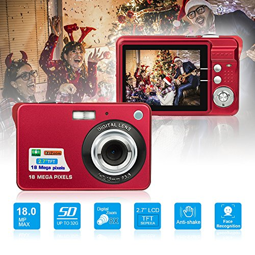 HD Mini Digital Camera with 2.7 Inch TFT LCD Display, Digital Video Camera Red– Sports,Travel,Camping,Birthday&Christmas Gift
