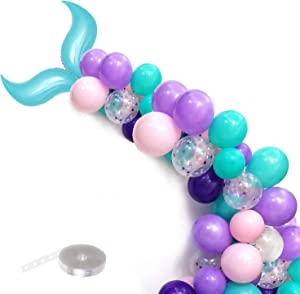 Mermaid Tail Balloons Garland for Baby Shower Girl Birthday Party Decorations Mermaid Ocean Theme Party Supplies