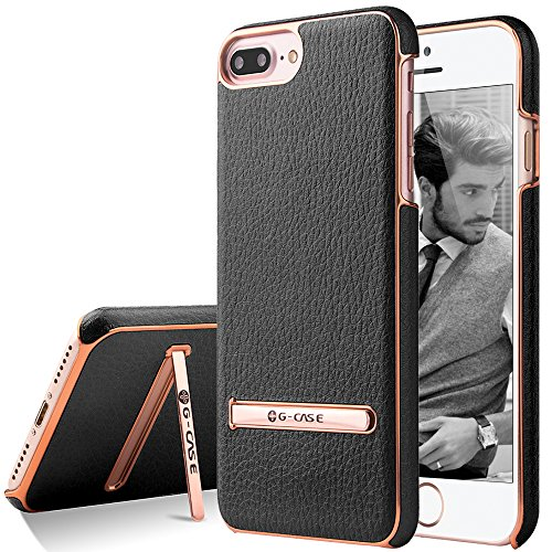 iPhone 7 Plus Case, G-CASE [Plating ] - Black and Metallic Rose Gold [Metal Kickstand][Anti-Scratch][Synthetic Leather][Shockproof] For Apple iPhone 7 Plus (2016)