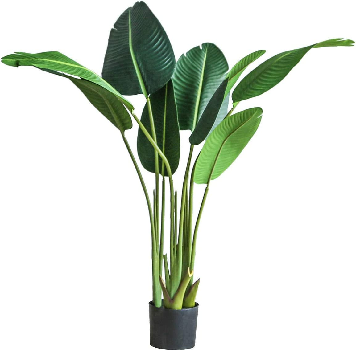 kutuuhome Artificial Bird of Paradise Plant Fake Tropical Palm Tree for Indoor Outdoor Perfect Faux Plants for Home Garden Office Store Decoration 10 Leaves(1 Pack,47 Inch)