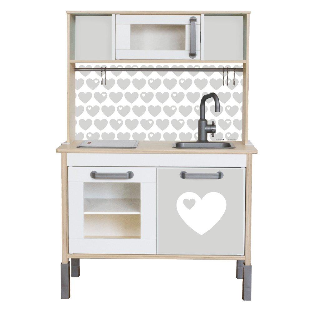 byGraziela Herz Klebefolie passend für deine IKEA Kinderküche DUKTIG (Farbe Grau) - Möbel nicht inklusive Limmaland
