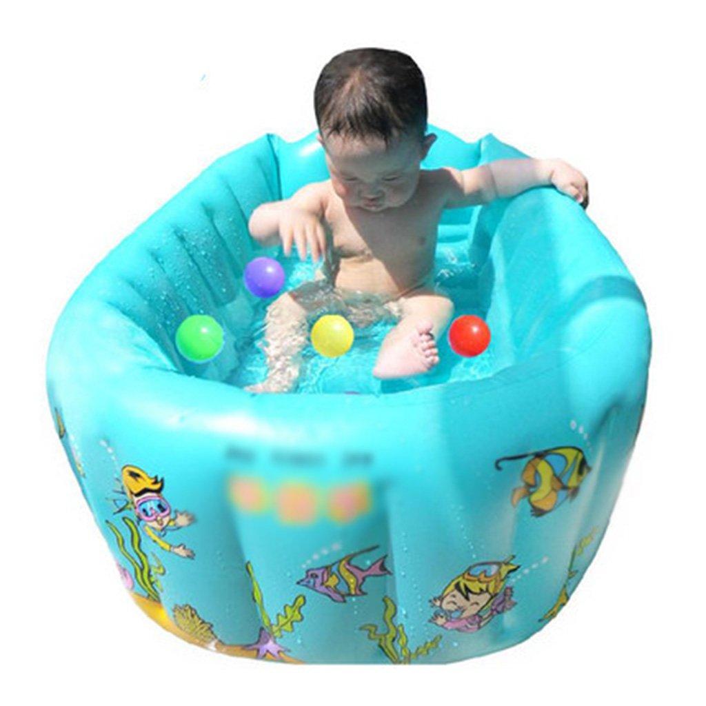 Inflatable bathtub folding tub baby tub home environmentally friendly pvc material thickening warm non-toxic no smell non-slip design green blue orange (Color : A)