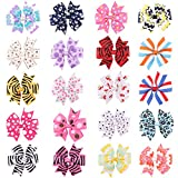 ROEWELL® Boutique Baby's and Girl's Grosgrain 4 Inches Ribbon Windmill Style Hair Bow Clips, Barrettes (20 pcs)