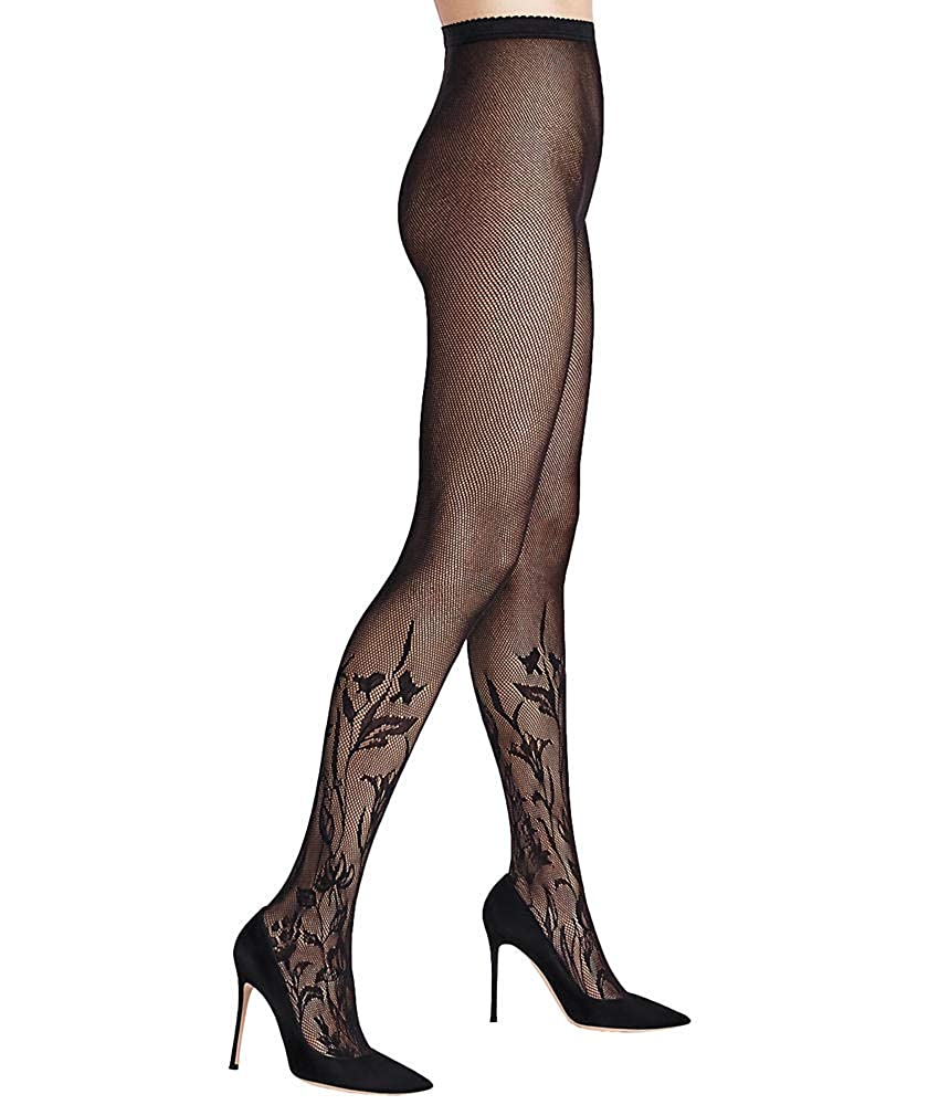 Black Wolford Wildflower Net Tights