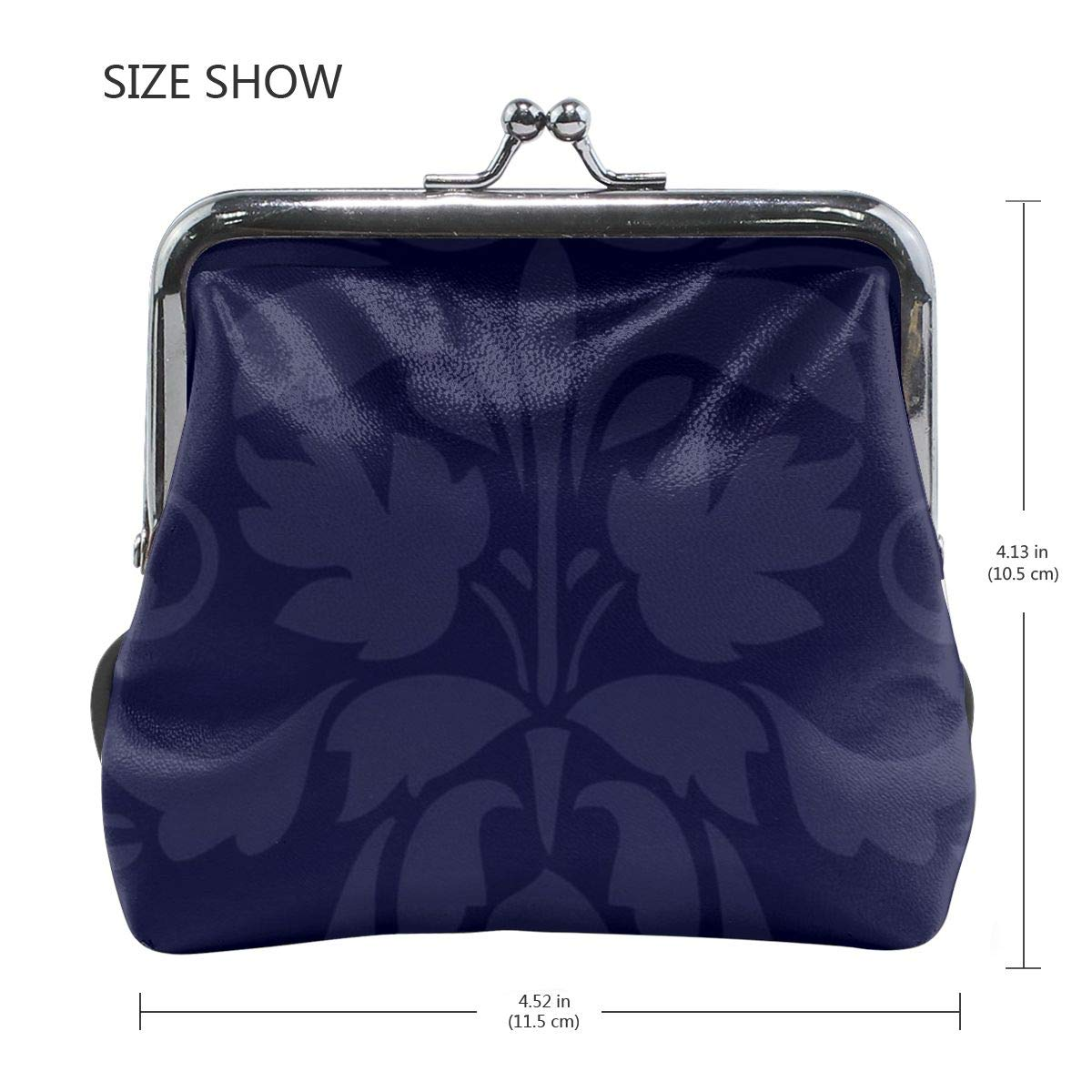 Poream Navy Blue Damask Pattern Customized Retro Leather Cute Classic Floral Coin Purse Clutch Pouch Wallet For Girls And Womens