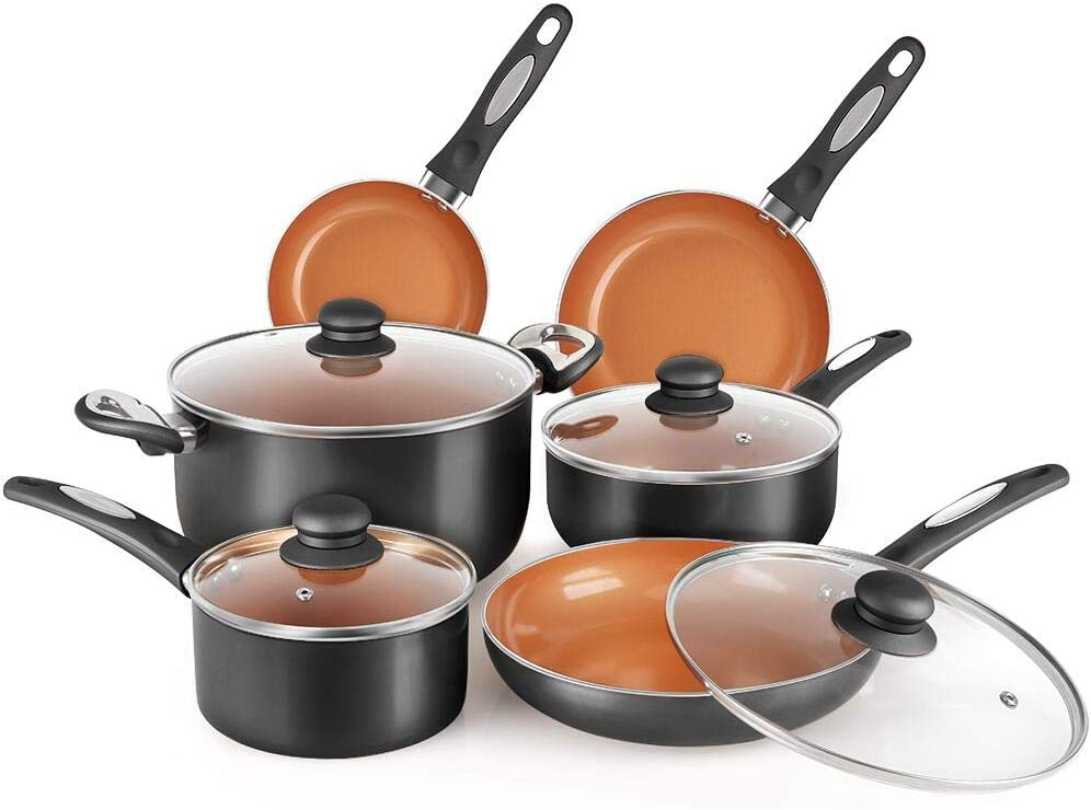 FGY 10 Pieces Nonstick Pots and Pans Copper Cookware Set with Induction Bottom, Perfect for Fry, Grill, Roast, Steam, Sauce,Stews, Pasta - Dishwasher Safe (Black)
