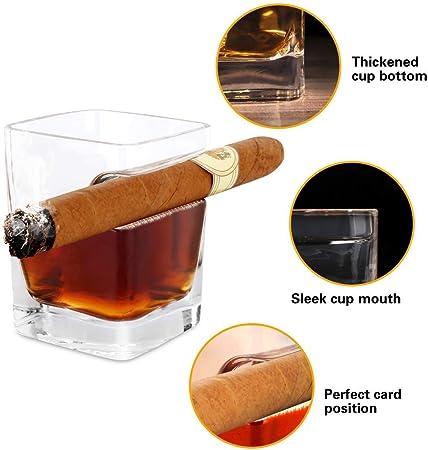 QYLT Vaso de Whisky 340ml con Soporte para cigarros, Vaso de Whisky de Cristal de Estilo Antiguo, Adecuado para Whisky, Escocés, Cerveza, Vino, Regalos Personalizados