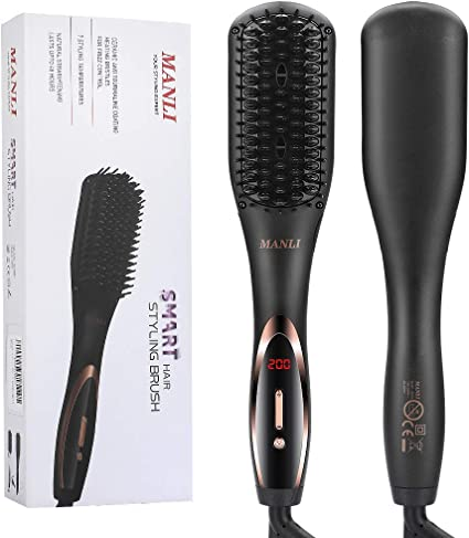 Hair Straightening Brush Ionic Hair Straightener Brushes, 30s Fast Heat Up Hot Brush with 7 Level Heating Settings, Auto off,360 Swivel Cord, Portable