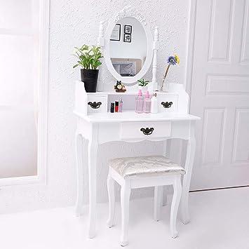 CCLIFE Schminktisch Frisiertisch Kosmetiktisch Mit Spiegel Hocker Set,  Farbe:006 Weiss