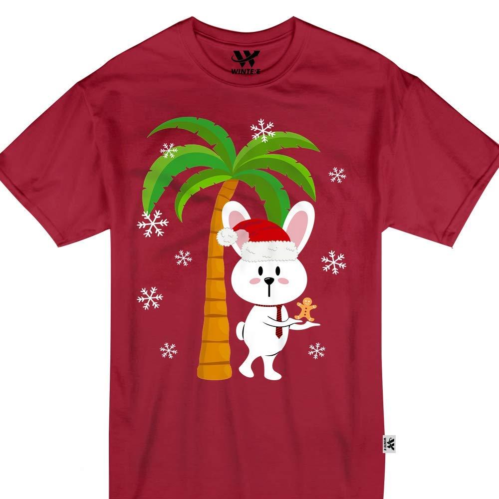 Rabbit Santa Christmas Tropical Palm Tree Hawaii Adult Tshirt
