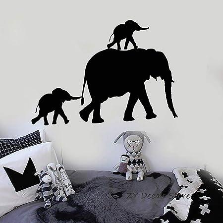 YuanMinglu Familia de Elefantes Tatuajes de Pared Animal Lindo ...