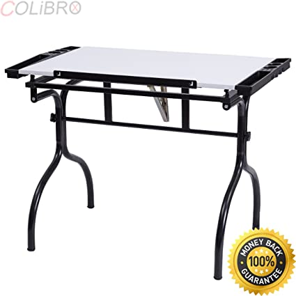 COLIBROX  Drafting Table Drawing Desk Adjustable Folding Craft Station Art  Hobby White New.