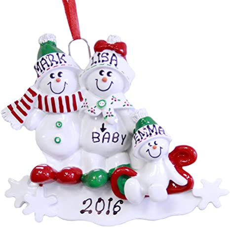 Amazon Com Personalized We Re Expecting Family Of 3 Christmas Ornament 2020 Kitchen Dining