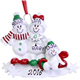 Family of 3 We're Expecting Snowmen Personalized Christmas Ornament-pregnant