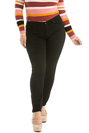 e68f9e5a2e KAN CAN Plus Size Elsa-Kassidy Black Super Soft Stretch Mid Rise Skinny  Jeans KC5003BK