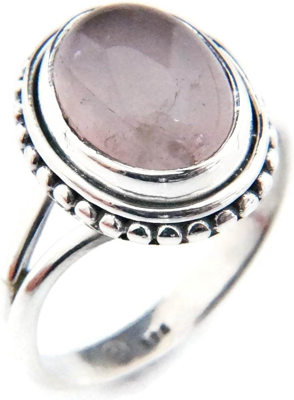 Edelstahl Ring Spannring Rosenquarz rosa rose Bandring Damen Silber 6 mm Neuer