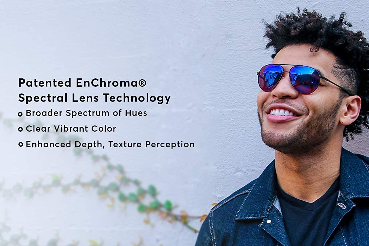 7276c8d2414c Amazon.com  EnChroma Color Blind Glasses - Atlas Gunmetal Aviator- Cx3 Sun  For Deutan and Protan Color Blindness  Clothing