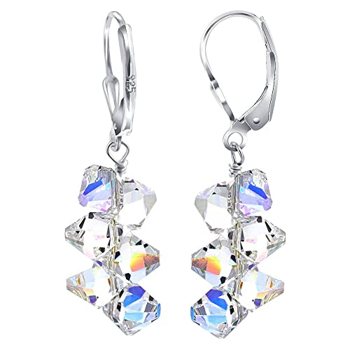 07bbc3529 925 Sterling Silver Leverback Drop Earrings Clear Handmade with Swarovski  Crystals
