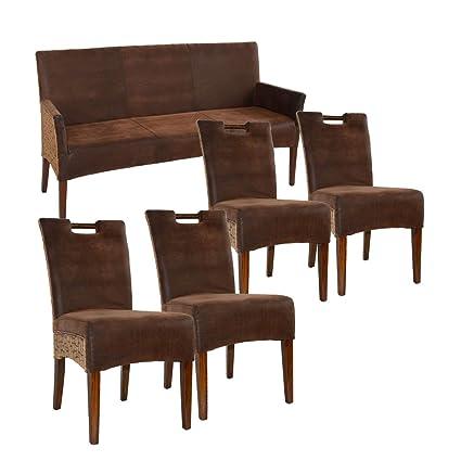 casamia Asiento Banco y 4 sillas de ratán Juego de Bilbao ...