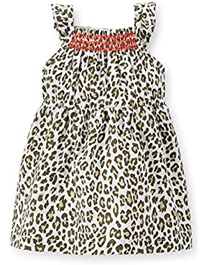 Baby Girl's Poplin Cheetah 2 Piece Dress Set (Newborn)