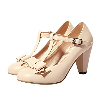 48716e864c2d Inornever Womens Pumps Low Heel PU Leather Mary Jane Bowtie Platform  Wedding Dress Buckled Shoes Beige