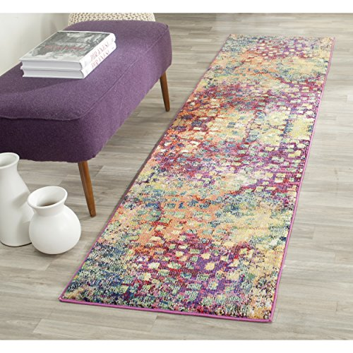 Safavieh Monaco Collection MNC225D Modern Abstract Watercolor Pink and Multi Runner (2'2