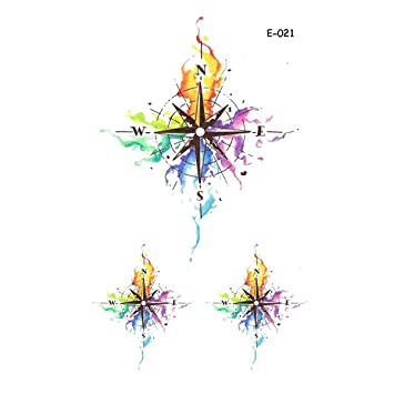 bc4b56618 Amazon.com : WYUEN 5 Sheets Watercolor Compass Temporary Tattoo Women Fake  Tattoo Sticker Men Body Art 9.8X6cm FE-021 : Beauty
