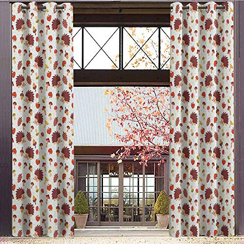 Peace Silk Inspired Top (Mushroom Blackout Curtains - Gasket Insulation Cute Autumn Inspired Pattern with Natural Elements Hedgehogs Acorns and Apples Blackout Curtains for The Living Room W84 x L84 Inch Multicolor)