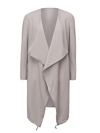 Choies mujeres caqui cascada frontal chaqueta de chándal ligera ...
