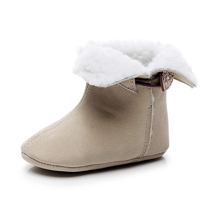 YanHoo Zapatos para niños Bebé Invierno más Terciopelo cálido Color sólido botón bebé Zapatos Botas de Nieve Botines Botas cálidas de Invierno Zapatos para ...