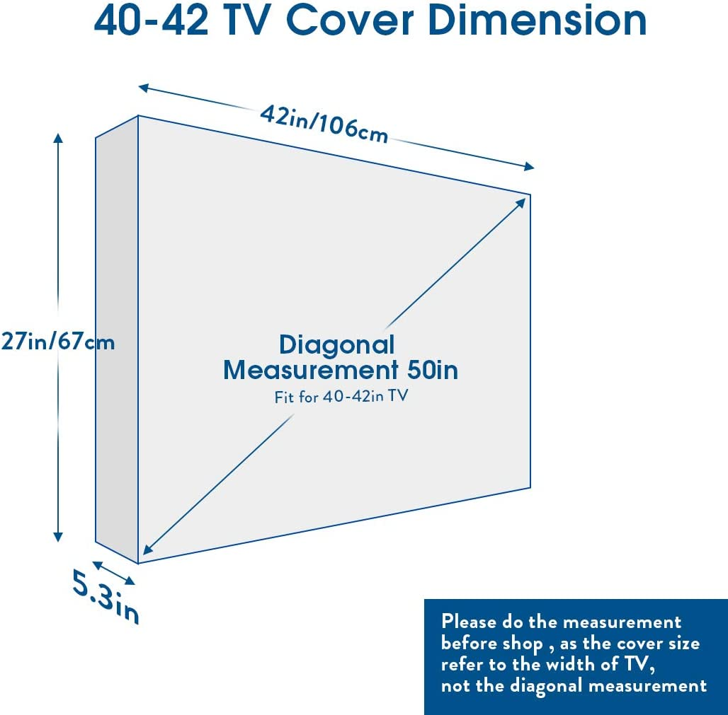 UNHO Funda para TV Pantalla LED LCD de 40-42 Pulgadas Exterior Protector para Televisor Cubierta de TV Universal y Resistente al Agua con Bolsillo de Almacenamiento: Amazon.es: Electrónica
