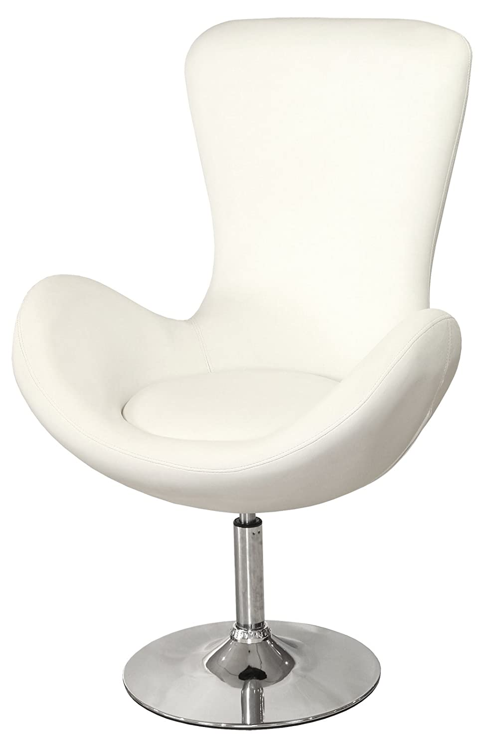 Febland Bucket Racing Chair, Faux Leather, Ivory FW464W