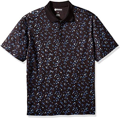 Haggar Men's Short Sleeve Printed Knit Polo, Dolphin, M (Short Sleeve Knit Polo Shirt)