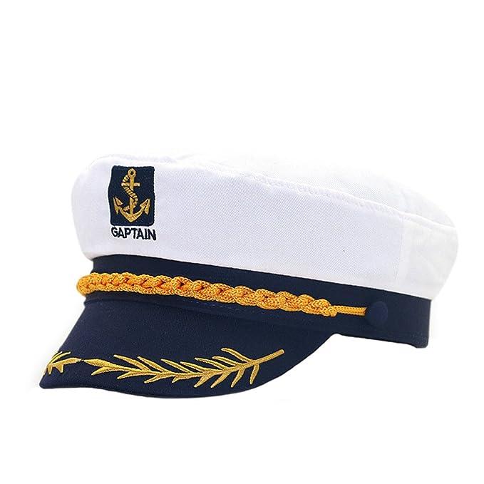 Cerrado Gorras Militares Hombre Mujer Unisexo Bordado Admiral Marinero Capitán Sombreros Blanco B: Amazon.es: Ropa y accesorios