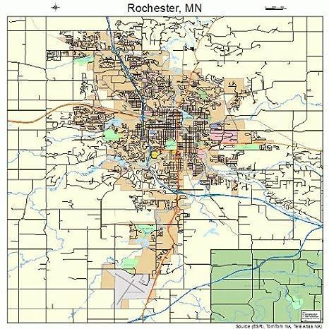 Amazon Com Large Street Road Map Of Rochester Minnesota Mn