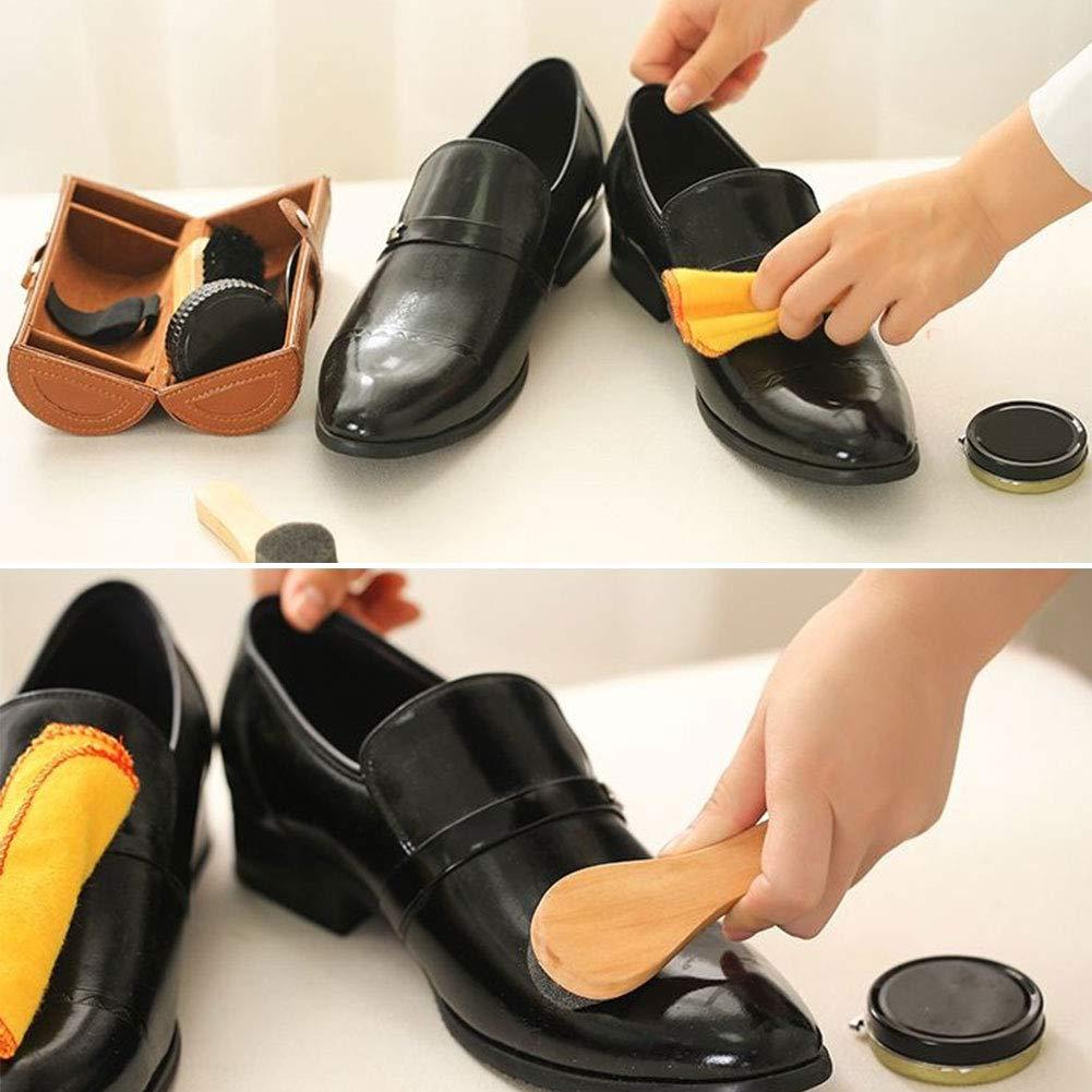 vitihipsy kit dentretien pour Chaussures kit de Cirage en Cuir avec brosses /à Cire Brunes pour Le Polissage