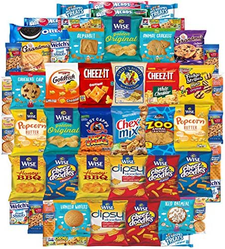 Ultimate Snacks Sampler Care Package (50 Count) - Bulk Cookies, Chips, Crackers, Candy, Mixed Bars Variety Pack - Friends & Family, Military, College Food Box by Variety Fun (50 Count)