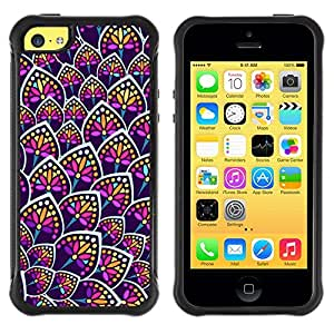 LASTONE PHONE CASE / Suave Silicona Caso Carcasa de Caucho Funda para Apple Iphone 5C / Flower Neon Colorful Uniform Pattern