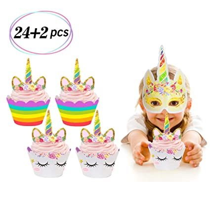 Amazon 24 Pack Unicorn Cupcake Toppers And Wrappers Double