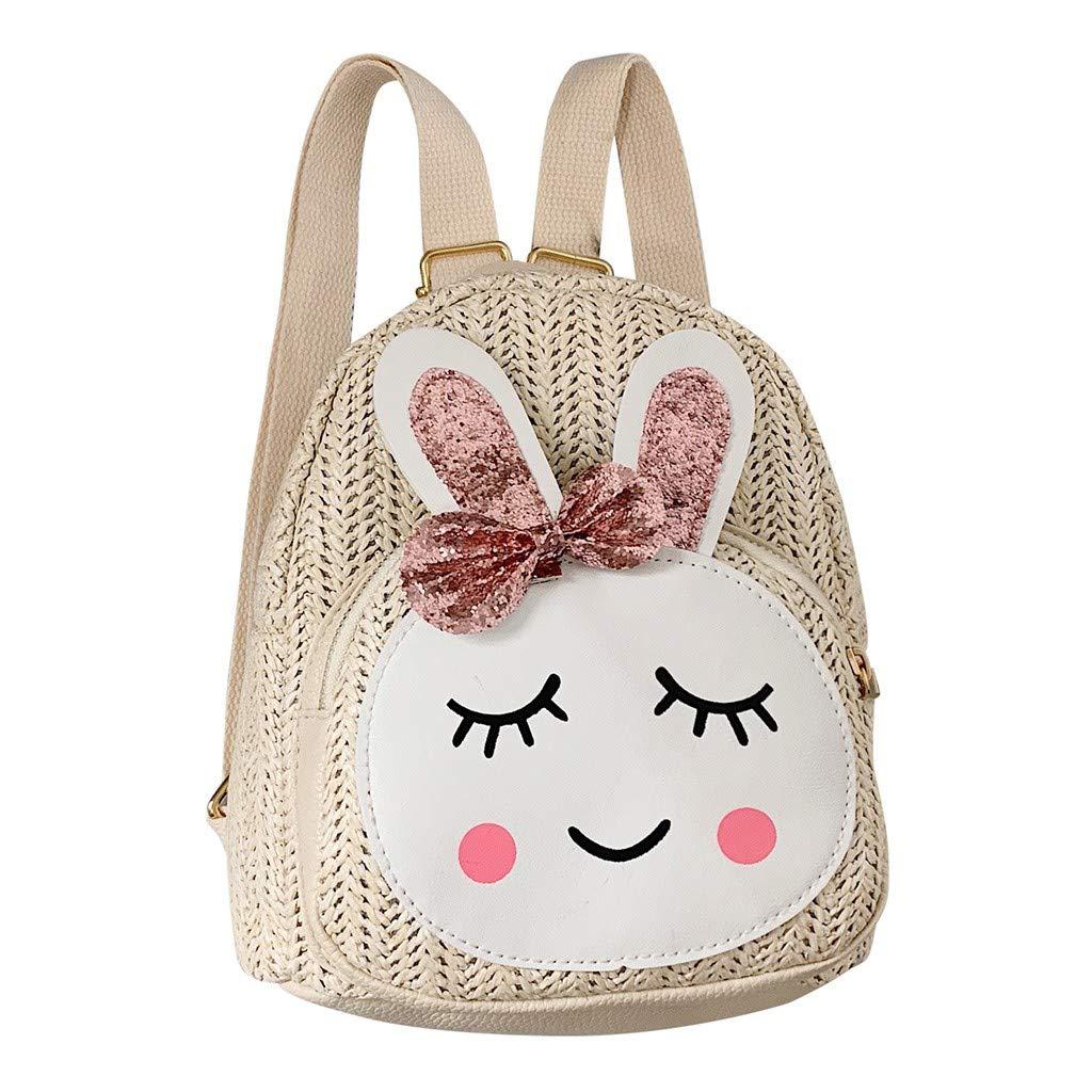 ChenGG Children Kids Fashion Girls Rabbit Straw Shoulder Handbag Backpack Casual Bags for Children Baby Girl Boy 1-6 Years